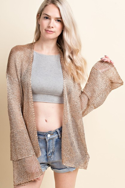 shimmering metallic finish cardigan - orangeshine.com