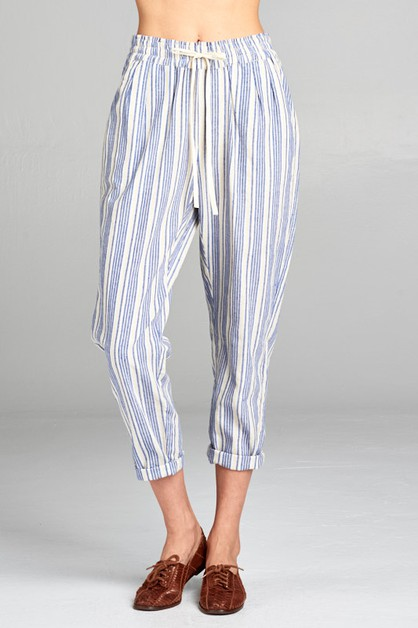 STRIPE DRAWSTRING PANTS - orangeshine.com