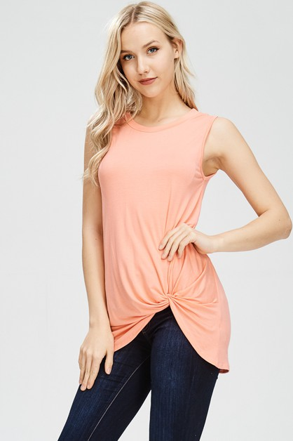 FRONT KNOT DETAIL SLEEVELESS TUNIC T - orangeshine.com