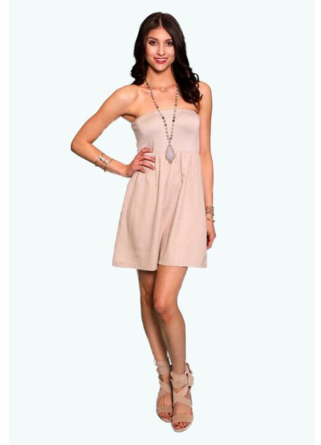 MOCHA LINEN STRAPLESS TUBE DRESS - orangeshine.com