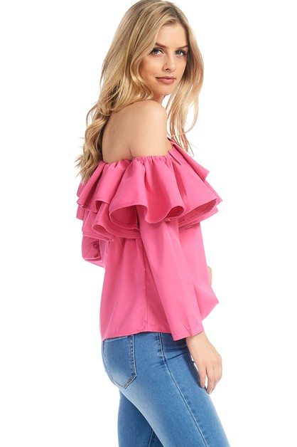 ONE SHOULDER LONG SLEEVE RUFFLED TOP - orangeshine.com
