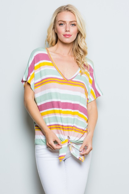 Striped Front Knot Top - orangeshine.com