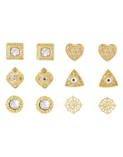Gold Design Multi-Shaped Earring - orangeshine.com