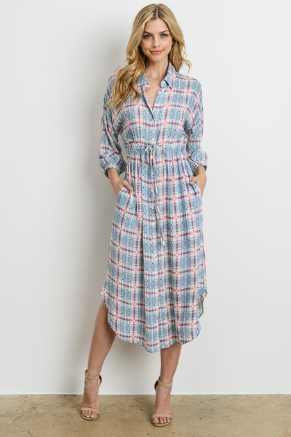 Plaid Midi Dress - orangeshine.com