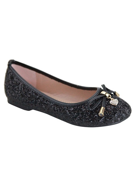 GLITTER FLAT BALLERINA WITH BOW - orangeshine.com