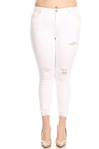 PLUS SIZE WHITE DENIM JEANS - orangeshine.com