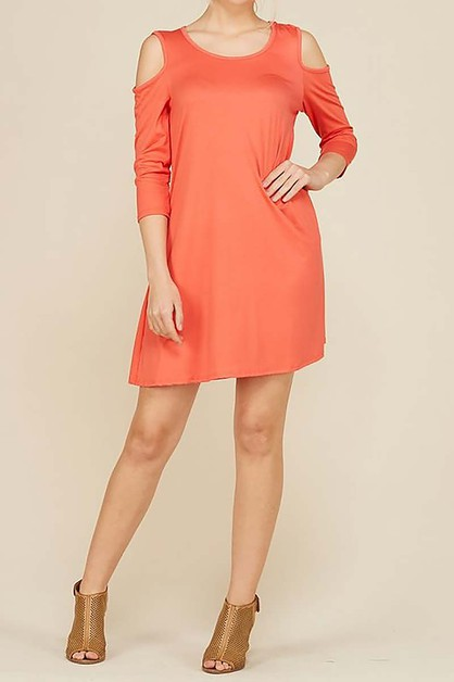 CUTOUT SHOULDER POCKET DRESS  - orangeshine.com