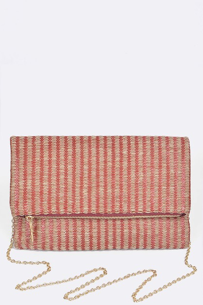 Woven Straw Folding Clutch Bag - orangeshine.com