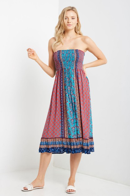 Smocked Relaxed Ruffle Paisley Dress - orangeshine.com