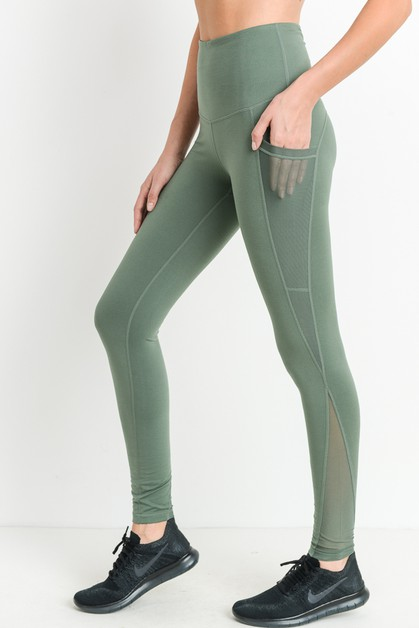 MESH DETAILED HIGH WAIST LEGGINGS  - orangeshine.com