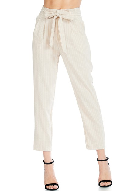 THIN STRIPED WAIST SELF TIED PANTS  - orangeshine.com