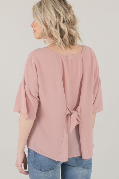 Bow Back Chiffon Top - Blush - orangeshine.com