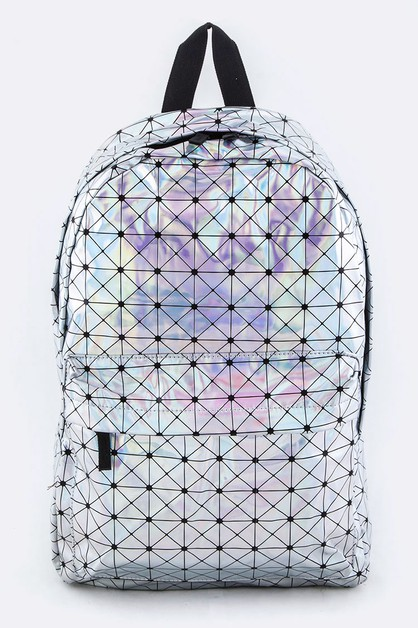 Geo Print Holographic Color Backpack - orangeshine.com