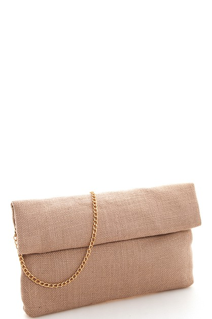 Woven Fabric Rollover Clutch  - orangeshine.com