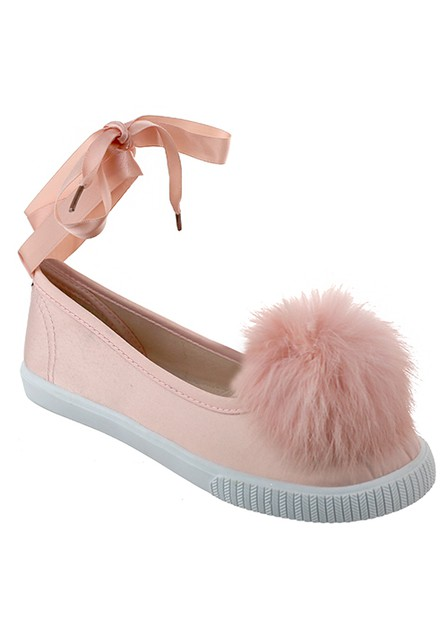 SLIP ON SATIN FLAT LACE UP WITH FUR - orangeshine.com