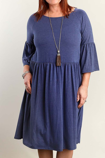 BOAT NECK BELL SLEEVE PUS SIZE DRESS - orangeshine.com