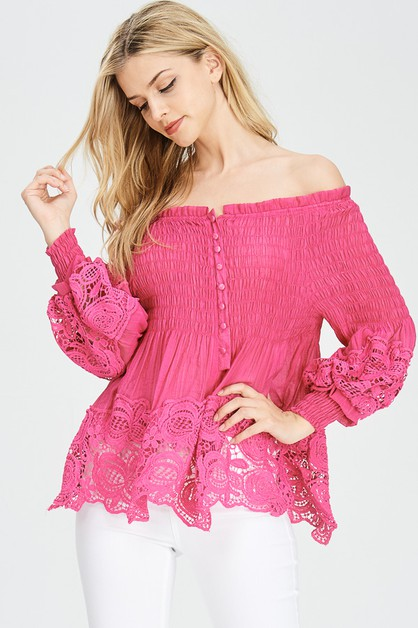 LACE AND SMOCKED OFF SHOULDER TOP - orangeshine.com