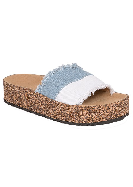 DENIM OPEN TOE PLATFORM SLIP ON SLID - orangeshine.com