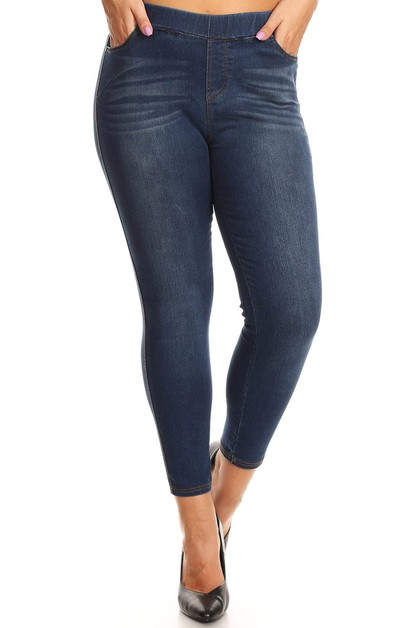 Solid Plus Size Denim Jeggings Jeans - orangeshine.com