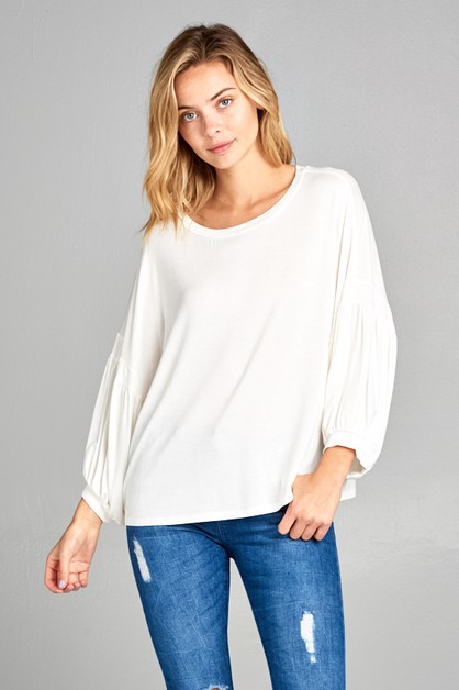 SOLID 3/4 VOLUME SL ROUND NECK TOP - orangeshine.com