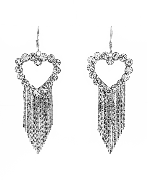 Rhinestone Heart Earrings - orangeshine.com