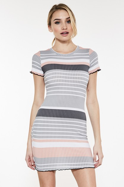 STRIPED MINI DRESS - orangeshine.com