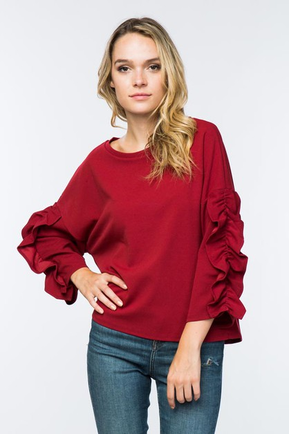 Ruffle sleeve sweater - orangeshine.com