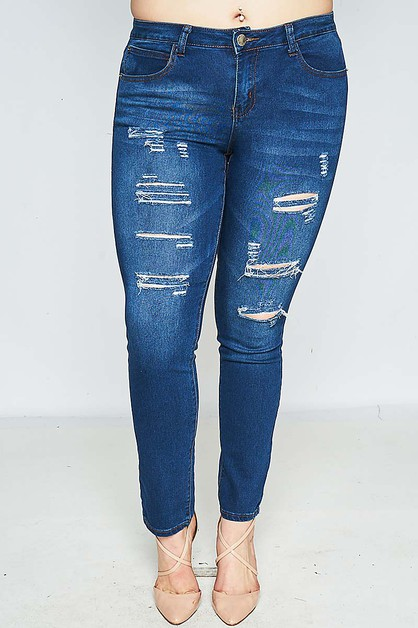 PLUS MID WAIST DISTRESSED JEANS  - orangeshine.com