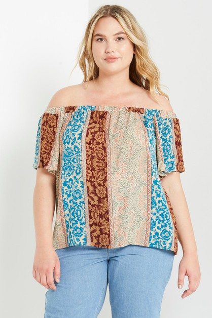 Printed Off the Shoulder Top Plus - orangeshine.com