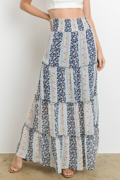 Tiered Floral Maxi Skirt - orangeshine.com