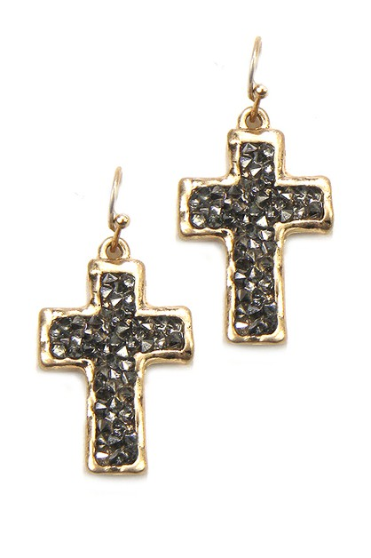 Cross Stone Hook Earrings - orangeshine.com