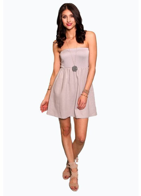 SILVER LINEN STRAPLESS TUBE DRESS  - orangeshine.com