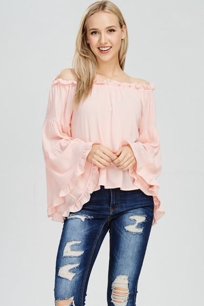 OFF SHOULDER BIG SLEEVE ELASTIC RUFF - orangeshine.com