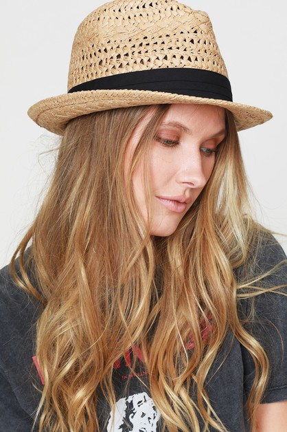 Black Tucked Ribbon Fedora - orangeshine.com
