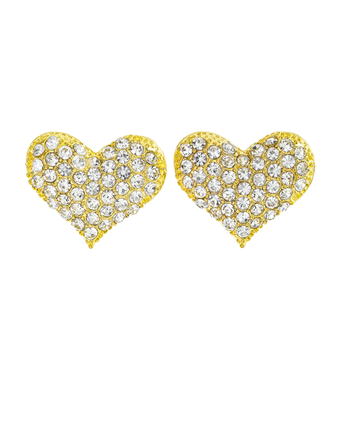Heart Rhinestone Earrings - orangeshine.com