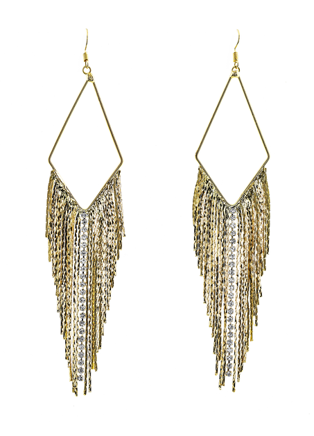 Sleek Chain and Rhinestone Earrings - orangeshine.com