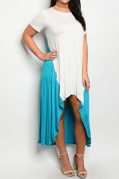 COLOR BLOCK HI LO DRESS  - orangeshine.com