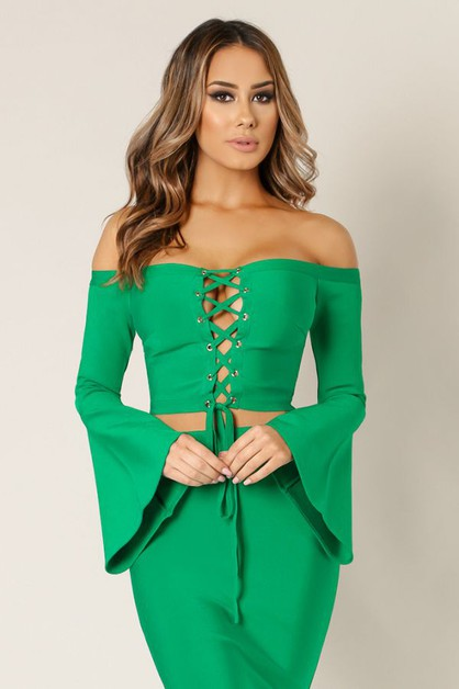 Bell Sleeve Off Shoulder Bandage Top - orangeshine.com