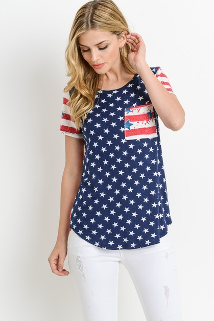 AMERICAN FLAG TOP WITH FRONT POCKET - orangeshine.com