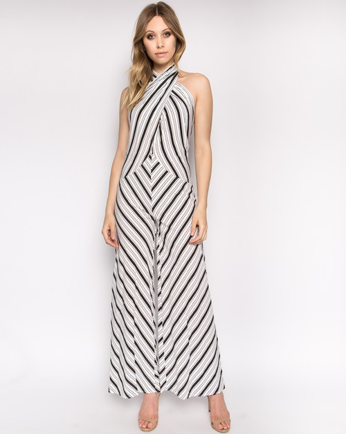 STRIPED FRONT WRAP CROSS JUMPSUIT - orangeshine.com