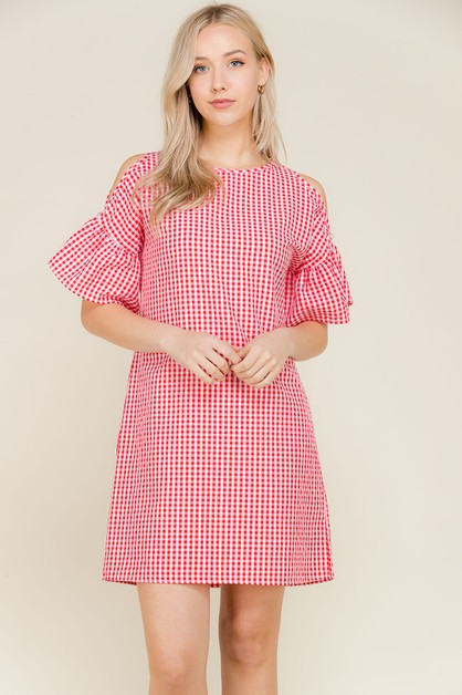 GINGHAM COLD SHOULDER BTTN SL DRESS - orangeshine.com