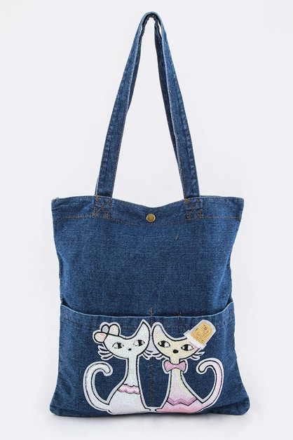 Sequins Kitties Denim Tote - orangeshine.com