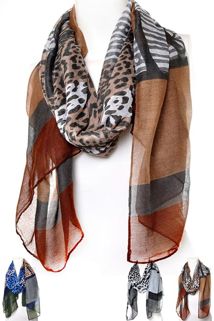 Mix Animal Print Scarf - orangeshine.com