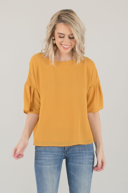 Bow Back Yellow Chiffon Top - Yellow - orangeshine.com