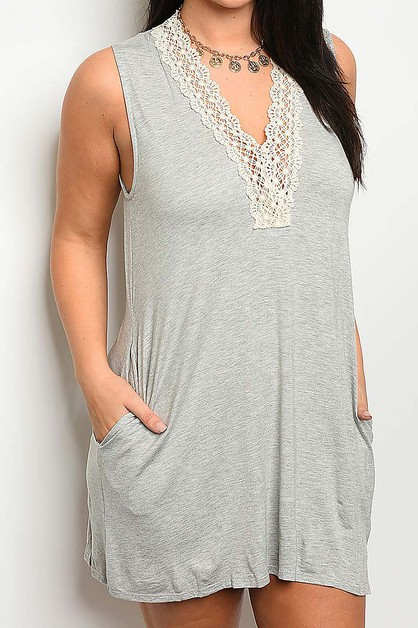 LACE TRIMMED W POCKET DETAIL DRESS - orangeshine.com