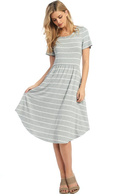 A LINE STRIPED DRESS - orangeshine.com