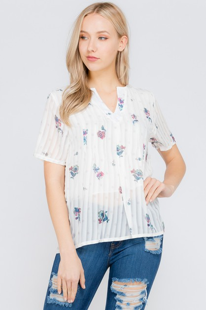 Button Down Floral Print Shirt Top - orangeshine.com