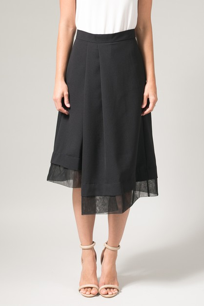 Black Tulle Trimmed Midi Skirt - orangeshine.com