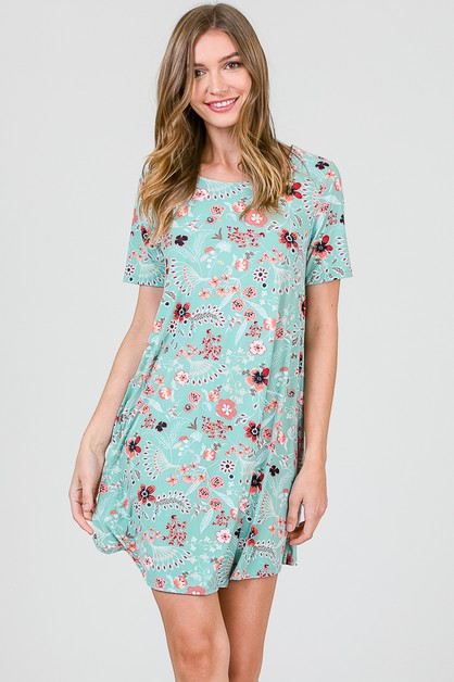 FLORAL SHIFT DRESS - orangeshine.com