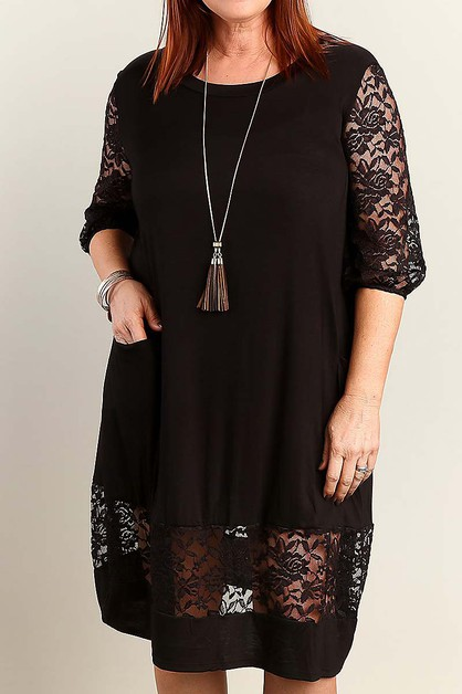 LACE TRIMMED PLUS SIZE DRESS  - orangeshine.com